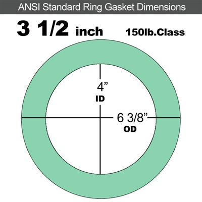"EQ 750G N/A NBR Ring Gasket - 150 Lb. - 1/16"" Thick - 3-1/2"" Pipe"