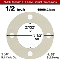 "Equalseal EQ 750W N/A NBR Full Face Gasket  150 Lb. - 1/16"" Thick - 1/2"" Pipe"