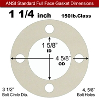 "Equalseal EQ 750W N/A NBR Full Face Gasket - 150 Lb. - 1/16"" Thick - 1-1/4"" Pipe"
