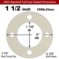 "Equalseal EQ 750W N/A NBR Full Face Gasket - 150 Lb. - 1/16"" Thick - 1-1/2"" Pipe"