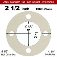 "Equalseal EQ 750W N/A NBR Full Face Gasket - 150 Lb. - 1/16"" Thick - 2-1/2"" Pipe"
