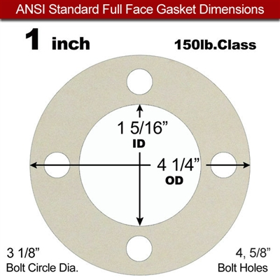 "Equalseal EQ 750W N/A NBR Full Face Gasket - 150 Lb. - 1/8"" Thick - 1"" Pipe"