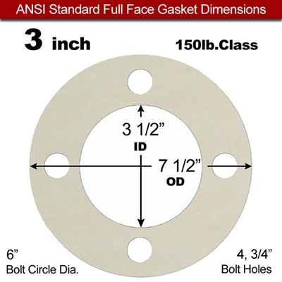 "Equalseal EQ 750W N/A NBR Full Face Gasket - 150 Lb. - 1/8"" Thick - 3"" Pipe"