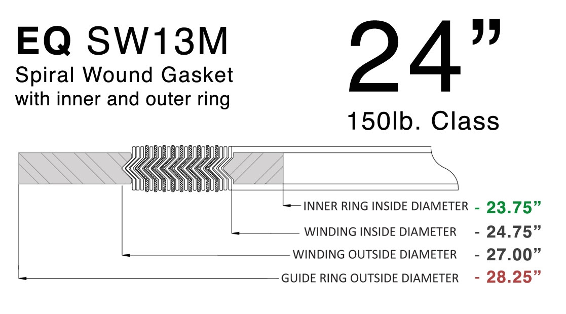 Spiral Wound Gasket 150# 316 SS/FG Inner and Outer Ring 24