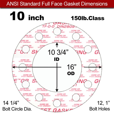 "GORE® GR Full Face Gasket - 150 Lb. - 1/8"" Thick - 10"" Pipe"