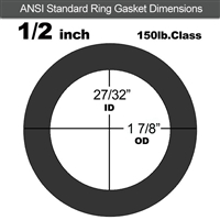 "60 Duro Neoprene Ring Gasket - 150 Lb. - 1/16"" Thick - 1/2"" Pipe"