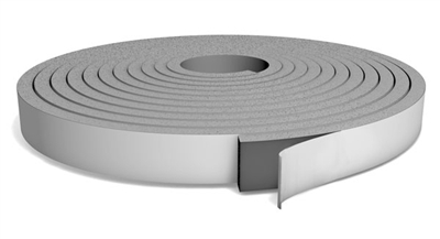 "Grey PVC Foam Strip Roll with PSA - 3/8"" x 1/2"" x 30 Ft."