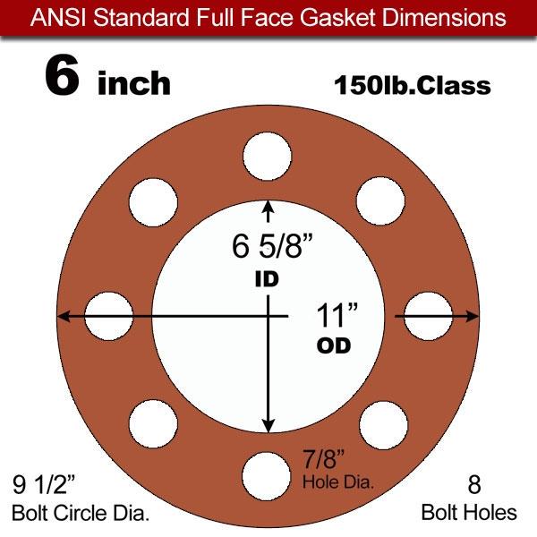 Red SBR Rubber Full Face Gasket - 150 Lb. - 1/8\