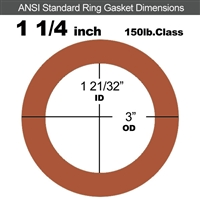 "Red SBR Rubber Ring Gasket - 150 Lb. - 1/8"" Thick - 1-1/4"" Pipe"