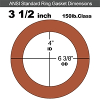"Red SBR Rubber Ring Gasket - 150 Lb. - 1/8"" Thick - 3-1/2"" Pipe"