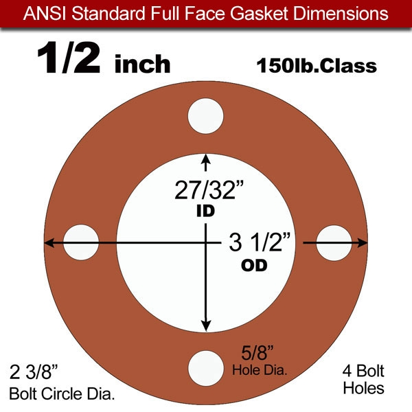 60 Duro Red Silicone Rubber Full Face Gasket - 150 Lb. - 1/16\