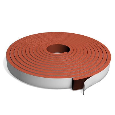 Medium Density Red Silicone Sponge Strip with PSA