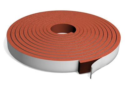 "Red Silicone Sponge Strip with PSA - 1/16"" x 2"" x 30 Ft."
