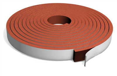 "Red Silicone Sponge Strip with PSA - 1/8"" x 1"" x 30 Ft."