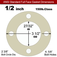 "40 Duro Tan Pure Gum Full Face Gasket - 150 Lb. - 1/16"" Thick - 1/2"" Pipe"