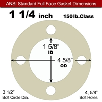 "40 Duro Tan Pure Gum Full Face Gasket - 150 Lb. - 1/16"" Thick - 1-1/4"" Pipe"