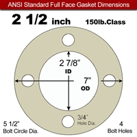 "40 Duro Tan Pure Gum Full Face Gasket - 150 Lb. - 1/16"" Thick - 2-1/2"" Pipe"