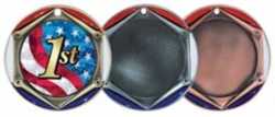 "2 3/4"" Tri-Color Medal with 2"" Insert Holder"