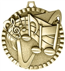 Music Medal Gold 2 inches