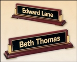 "Rosewood Nameplate With Gold Metal Accents 10 5/8"" x 2 3/4"" x 2 1/2"""