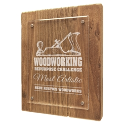 "8"" x 10"" Reclaimed Wood Floating Acrylic Plaque"