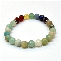 CR-14-7 8mm 7CHAKRA STONE BRACELET IN AMAZONITE