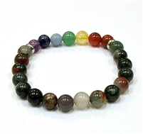 CR-15-7 8mm 7 CHAKRA STRETCH BRACELET--BLOODSTONE