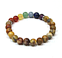 CR-17-7 8mm  CHAKRA STONE BRACELET IN CRAZY AGATE
