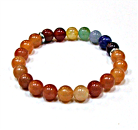 CR-30-7 8mm 7CHAKRA STONE BRACELET IN RED AVENTURINE