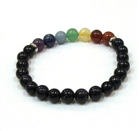 CR-41-7 8mm CHAKRA STONE BRACELET IN BLUE GOLDSTONE
