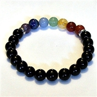 CR-44-7  8mm 7 CHAKRA STRETCH BRACELET--ONYX
