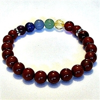 CR-46-7  8mm 7 CHAKRA STRETCH BRACELET-RED JASPER