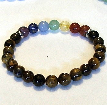 CR-60-7  8mm 7 CHAKRA STONE BRACELET-TIGER EYE