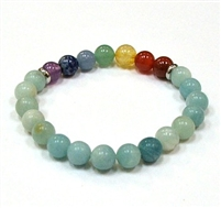 CR-69-7 8mm 7CHAKRA STONE BRACELET IN AMAZONITE