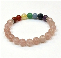 CR-71-7 8mm 7 CHAKRA STONE BRACELE IN GOLDEN STRAWBERRY QUARTZ