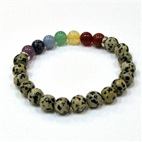 CR-78-7 8mm 7 CHAKRA STONE BRACELE IN DALMATION