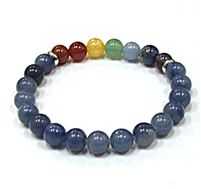 CR-81-7  8mm 7 CHAKRA STRETCH BEACELET-BLUE AVENTURINE
