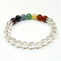 CR-10-7 8mm 7 CHAKRA STONE BRACELET IN CLEAR CRYSTAL