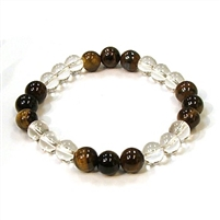CR10-CR60-B-8mm TWO COLOR STONE BRACELET IN CLEAR QUARTZ & TIGER EYE