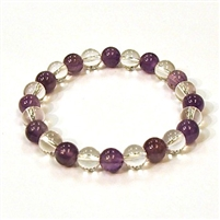 CR10-CR11-A-8mm TWO COLOR STONE BRACELET IN CLEAR QUARTZ AND AMETHYST