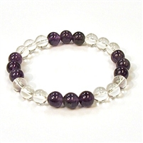 CR10-CR11-B 8mm TWO COLOR STONE BRACELET IN CLEAR QUARTS & AMETHYST