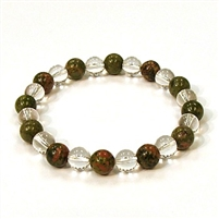 CR10-CR42-A-8mm TWO COLOR STONE BRACELET IN CLEAR CRYSTAL & UNAKITE