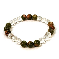 CR10-CR42-B-8mm TWO COLOR STONE BRACELET IN CLEAR CRYSTAL & UNAKITE