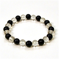 CR10-CR44-A  8mm TWO COLOR STONE BRACELET IN CLEAR QUARTZ & ONYX