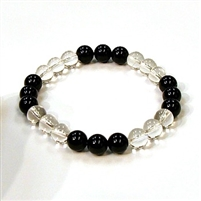 CR10-CR44-B-8mm TWO COLOR STONE BRACELET IN CLEAR CRYSTAL & ONYX
