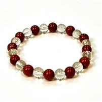 CR10-CR46-A 8mm TWO COLOR STONE BRACELET IN CLEAR QUARTZ & RED JASPER