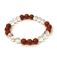 CR10-CR46-B  8mm TWO COLOR STONE BRACELET IN CLEAR QUARTZ & RED JASPER