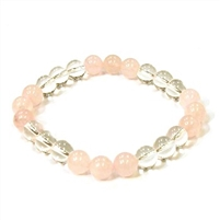 CR10-CR56-B-8mm TWO COLOR STONE BRACELET IN CLEAR CRYSTAL & ROSE QUARTZ