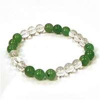 CR10-CR57-B-8mm TWO COLOR STONE BRACLET IN CLEAR QUARTZ & AVENTURINE
