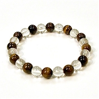 CR10-CR60-A  8mm TWO COLOR STONE BRACELET IN CLEAR QUARTZ & TIGER EYE